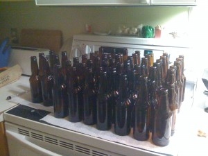 clean bottles ready to go